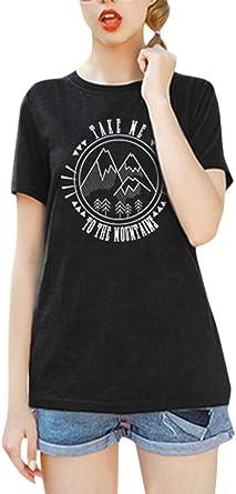 Romacci Moda Mujer Camiseta Manga Corta o Cuello montañas Lema Letras Imprimir más tamaño algodón Fresco Camisetas Casual Tops: Amazon.es: Ropa y accesorios