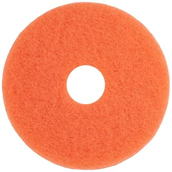 """Glit 20515 TK Polyester Blend Peach Floor Pad, Synthetic Blend Resin, Talc Grit, 15"""" Diameter, 175 to 1500 rpm (Case of 5)"""