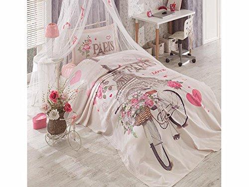 TI Home Paris Love Bicycle Pink Bedspread Coverlet Set, 100% Cotton Single Size 3 Pcs