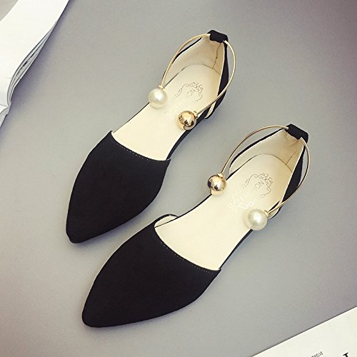 RUGAI-UE Sandalias de verano mujer boca superficial zapatos de moda zapatos de punta plana Black
