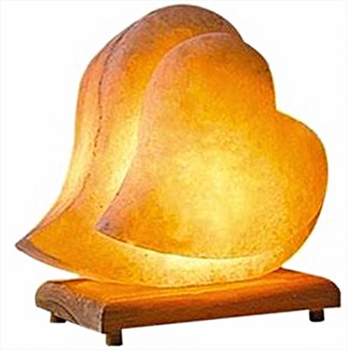 Himalayan Salt Lamp Hand Carved Himilian Pink Light Romantic Double Heart Crystal Rock on Neem Wood Base UL - Approved Cord with Dimmer Switch Brightness Control Enjoy this Eco Friendly - Pedestal Salt