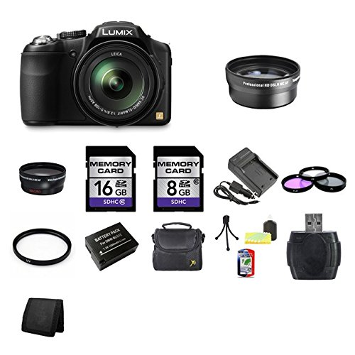 Panasonic Lumix DMC-FZ200 Digital Camera + 8GB SDHC Memory Card + 16GB SDHC Memory Card + USB SDHC Memory Card Reader + UV FILTER 52MM + CC UV, Florescent, Polarizer Filter Kit (Protect Your Lens!) + Weather Resistant Carrying Case w/Strap + Memory Card Wallet + Two Rechargeable Lithium Ion Replacement Battery + Rapid External Ac/Dc Charger Kit + CC 52mm Wide Angle Lens + CC 52mm 2x telephoto lens