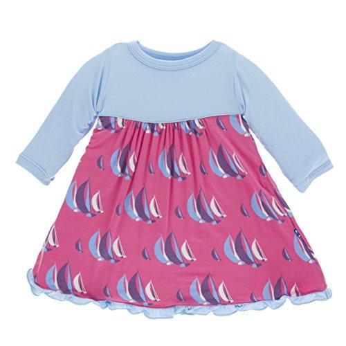 KicKee Pants Little Girls Print Classic Long Sleeve Swing Dress, Flamingo Sailing Race, 18-24 Months - Race Infant Long Sleeve Boys