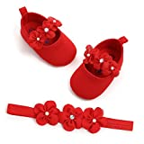 Infant Baby Girl Red Shoes Floral Princess Mary