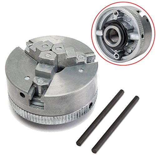 3 Jaw Lathe Chuck (1pc 3 Jaw Lathe Chuck Metal Self Centering Hardened Chuck M12x1 45mm + 2pcs Lock Rods with Shock Resistance)