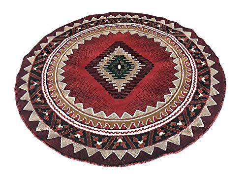 Kingdom South West Native American Round Area Rug Red Black Green Beige Design D143 (4 Feet X 4 Feet)