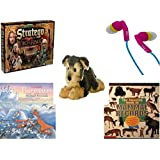 "Children's Fun & Educational Gift Bundle - Ages 6-12 [5 Piece] - The Lord of The Rings Stratego Game - iHip Ip-Passion 4 Color Earphones - Flopsie Yorky Plush 12"" - Classic Fairy Tales Hardcover"