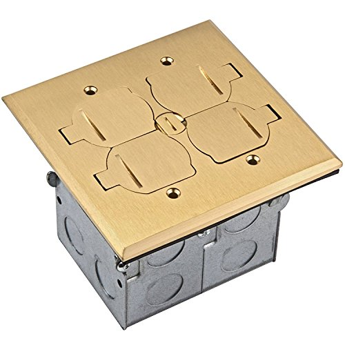 Enerlites 975549-D-C Brass Flip Lid Cover Floor Box Kit, 2 Gang 20A Tamper-Weather Resistant Duplex Receptacle, Datacom Ready Ports, UL Listed