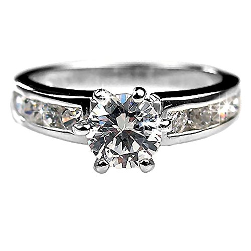 6 Mm Channel Set (Trustmark Sterling Silver 1.35ct Ice on Fire CZ Accented Bridal Engagement Ring, Delilah 3038A sz)