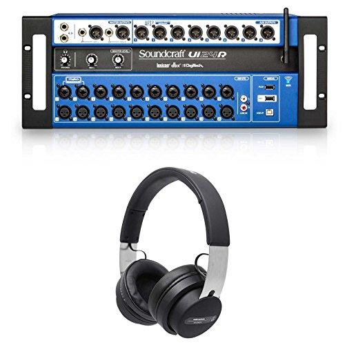 (Soundcraft Ui24R Digital Mixer w/Wifi+App Control+Recording Ui 24R + Headphones)