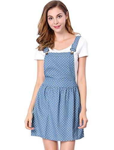 Allegra K Women's Dot Pattern Adjustable Straps Mini Pinafore Jean Denim Overall Dress Light Blue L (US 14) (Dress Pattern Pinafore)