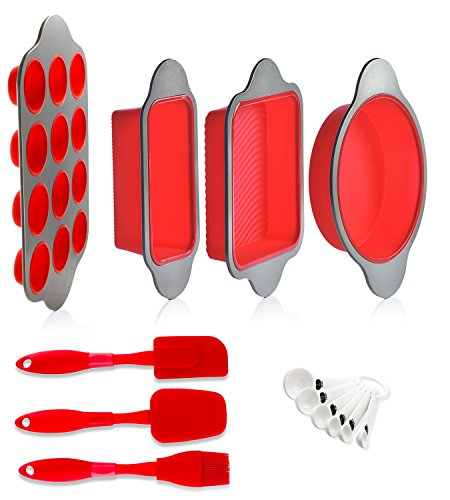 Set Silicone Bake (Silicone Baking Molds, Pans and Utensils (Set of 13) by Boxiki Kitchen | Silicone Cake Pan, Brownie Pan, Loaf Pan, Muffin Mold, 2 Spatulas, Brush and 6 Measuring Spoons)