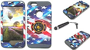 Cell-Attire Shockproof Hybrid Case For Apple Iphone 6 Plus and Stylus Pen, Gray Soft Rubber Skin with Hard Cover (USA, American Flag, Fire Department) AT&T, T-Mobile, Sprint, Verizon, Boost Mobile, U.S Cellular, Cricket by Maris's Diary