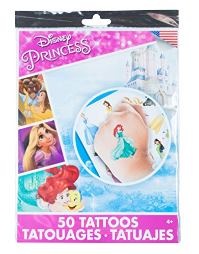 Savvi Disney Temporary Tattoos, Set of 50, Disney Princess, 3-Pack