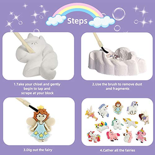 KARAZZO 12 Unicorn Dig Kits,Fairie Unicorn Excavation Science Dig Kit Archaeological Excavation Educational Toys for Kids Over 6+ Years