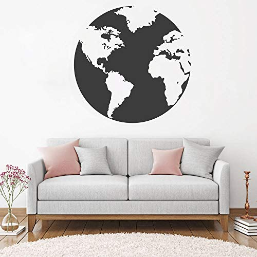 Blue Stones 56cm x 56cm World Map Atlas Wall Sticker Decal DIY Removable Art Stickers Mural Design House Decoration for Living Room LC456