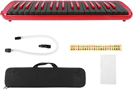 Melodica Blu 37 tasti Melodica in stile pianoforte con adesivi chiave Doppi bocchini Tubi Borsa da trasporto Regalo per bambini Principianti Adulti