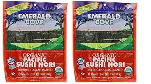 Price comparison product image Emerald Cove Organic Non-GMO Verified Pacific Sushi Nori (Dried Seaweed) 10 Sheets - Pack of 2,  .9 Ounces Each