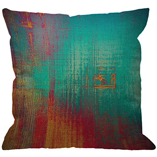 HGOD DESIGNS Abstract Throw Pillow Cover,Vintage Feeling Aged Texture with Color Blue Cyan Yellow Red Purple Pink Decorative Pillow Cases Linen Square Cushion Covers for Sofa Couch 18x18 inch -