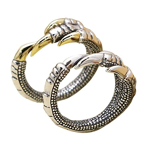 Vintage 925 Sterling Silver Dragon Claw Pinky Ring for Men Women Silver Tone Adjustable Size 6.5-8