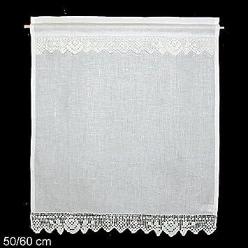 Fensterdeko Gardine Hossner | 60x50 cm H/B | weiß | 100 % Leinen