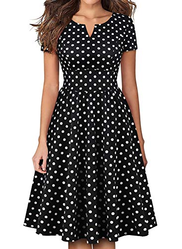 YATHON Women's Business Retro 50s Black Polka Dot Pleated Swing Casual Dresses V Neck Cutout Prom Fit and Flare Dress for Summer Party Holiday (L, YT028-Black - Dresses Out Prom Cut