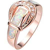 Lucky Elephant White Fire Opal Wedding Ring Rose Gold Women Gift (7)
