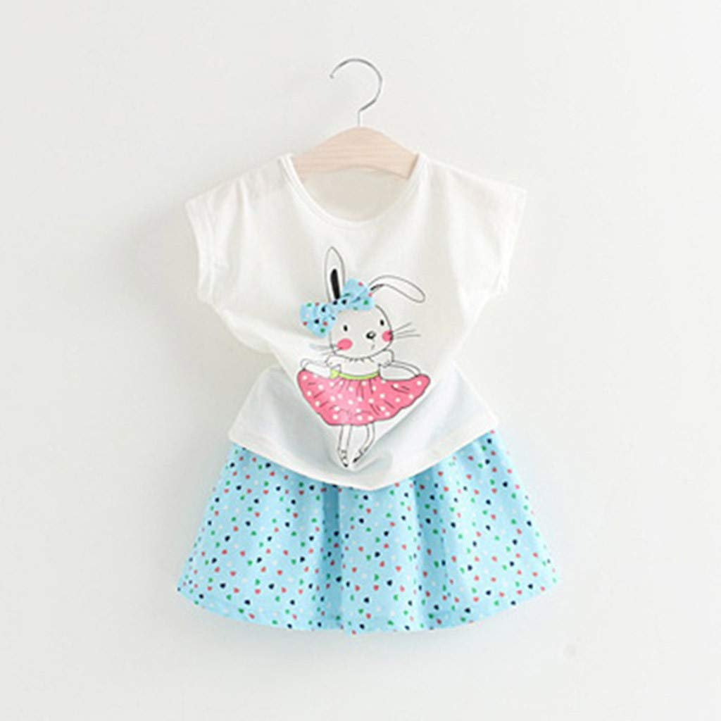 a38a2107549b2 Amazon.com  Toddler Baby Girl Easter Day Bunny Outfits Short Sleeve T-Shirt  Tops+Dot Skirt Set 2-7T  Clothing
