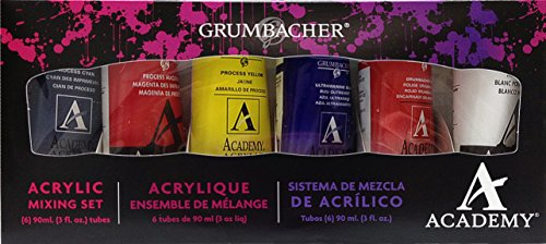 Grumbacher Academy Acrylic Paint Mixing Set, 90ml/3.0 Ounce Metal Tubes, 6-Color Set, Assorted Colors (C1027)