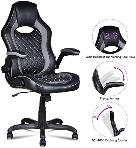 LENTIA High Back Leather Office Chair Ergonomic Computer Desk Chair with Flip-up Armrest Lumbar Support, Black
