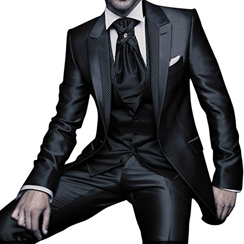 george bride 1 button black 3 pieces men s slim fit solid suit wedding party tuxedo 2xl black. Black Bedroom Furniture Sets. Home Design Ideas