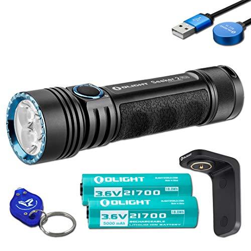 Olight Seeker 2 Pro 3200 Lumen Rechargeable LED Flashlight with 2x Olight Customized Rechargeable Batteries, Charging Dock, and LumenTac Keychain Flashlight - Battery Dock Charging