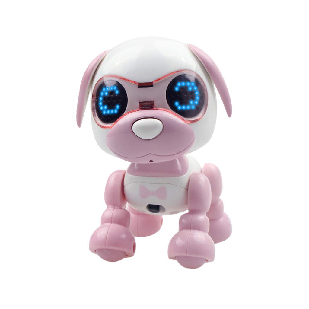 PSFS Interactive Smart Puppy Robotic Dog,LED Eyes Sound Recording Sing Sleep Cute Toy (Pink)