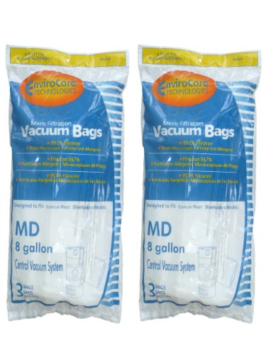 EnviroCare Replacement Vacuum Bags for Modern Day 8 Gallon Central Vacuums 6 Pack