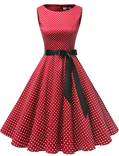 Gardenwed Women's Audrey Hepburn Rockabilly Vintage Dress 1950s Retro Cocktail Swing Party Dress Red Small White Dot S -