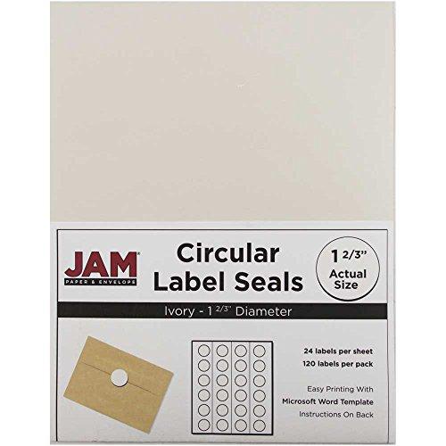 JAM PAPER Circle Label Sticker Seals - 1 2/3 Inch Diameter - Ivory - 120 Round Labels/Pack (Ivory Address Labels)