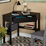 Excellent Corner Writing Desk, Long Lasting Wood and Sturdy Durable MDF Construction, Handy lower Shelves, Wide Top Surface can Easily Accommodate a Wide Variety of Items + Expert Guide