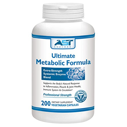 Ultimate Metabolic Formula - 200 Vegetarian Capsules - Premium Natural Systemic Enzymes Formula - Total Joint Support - Contains Enteric-Coated Serrapeptase - AST Enzymes