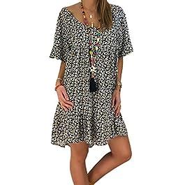Women's Summer Dresses Short Sleeve Casual Shirt Dress