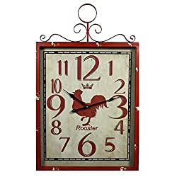Benjara Red Rooster Metal Wall Clock