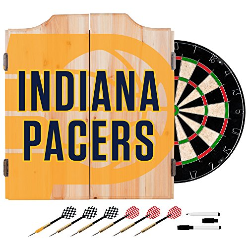 Trademark Gameroom NBA7010-IP2 NBA Dart Cabinet Set with Darts & Board - Fade - Indiana Pacers by Trademark Global