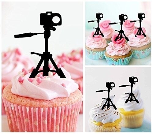 TA0453 Camera Silhouette Party Wedding Birthday Acrylic Cupcake Toppers Decor 10 pcs