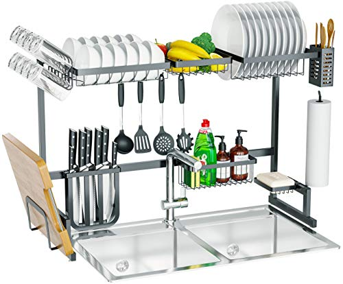 Skywin Kitchen Dish Rack Over Sink 15 Piece Set- 2 Tier Dish Rack for Counter Over the Sink Dish Rack – Black Steel Dish Rack