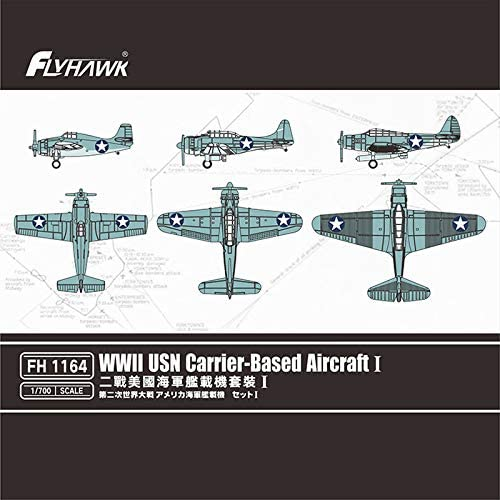 フライホークモデル 1/700 第二次世界大戦 アメリカ海軍 艦載機セット1 (F4F、SBD、TBD 各6機) プラモデル