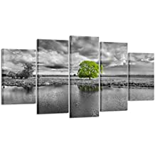 Kreative Arts Canvas Wall Art Paintings Green Tree Landscape In Black And White 5 Pieces Panel Modern Giclee Framed Artwork Pictures For Living Room Decoration (Medium Size 40x24inch)
