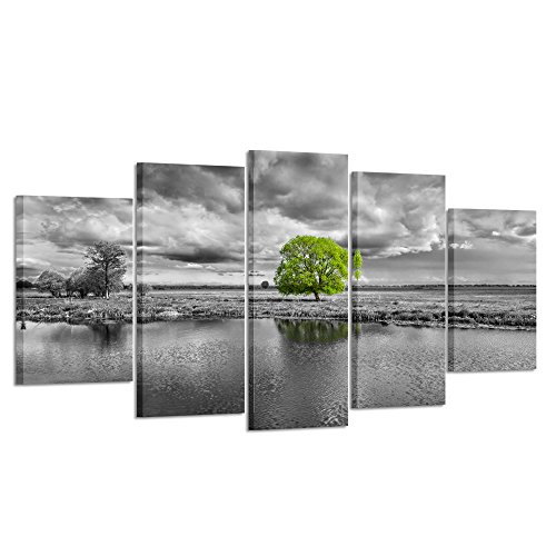 Black White Landscape Photographs - Kreative Arts - Canvas Wall Art Paintings Green Tree Landscape in Black and White 5 Pieces Panel Modern Giclee Framed Artwork Pictures for Living Room Decoration (Large Size 60x32inch)