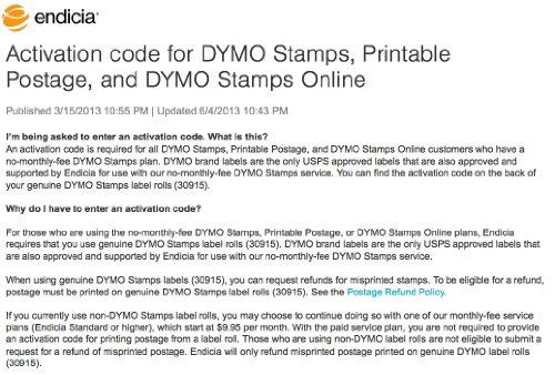 Dymo Compatible SHIP-30915 Endicia Internet Postage Stamps