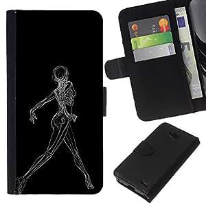 YiPhone /// Tirón de la caja Cartera de cuero con ranuras para tarjetas - Sexy Woman raggi X di scheletro - LG OPTIMUS L90