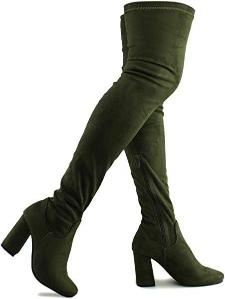 241f1ce4e392 Premier Standard - Women's Fashion Comfy Vegan Suede Block Heel Thigh High  Over The Knee Boots