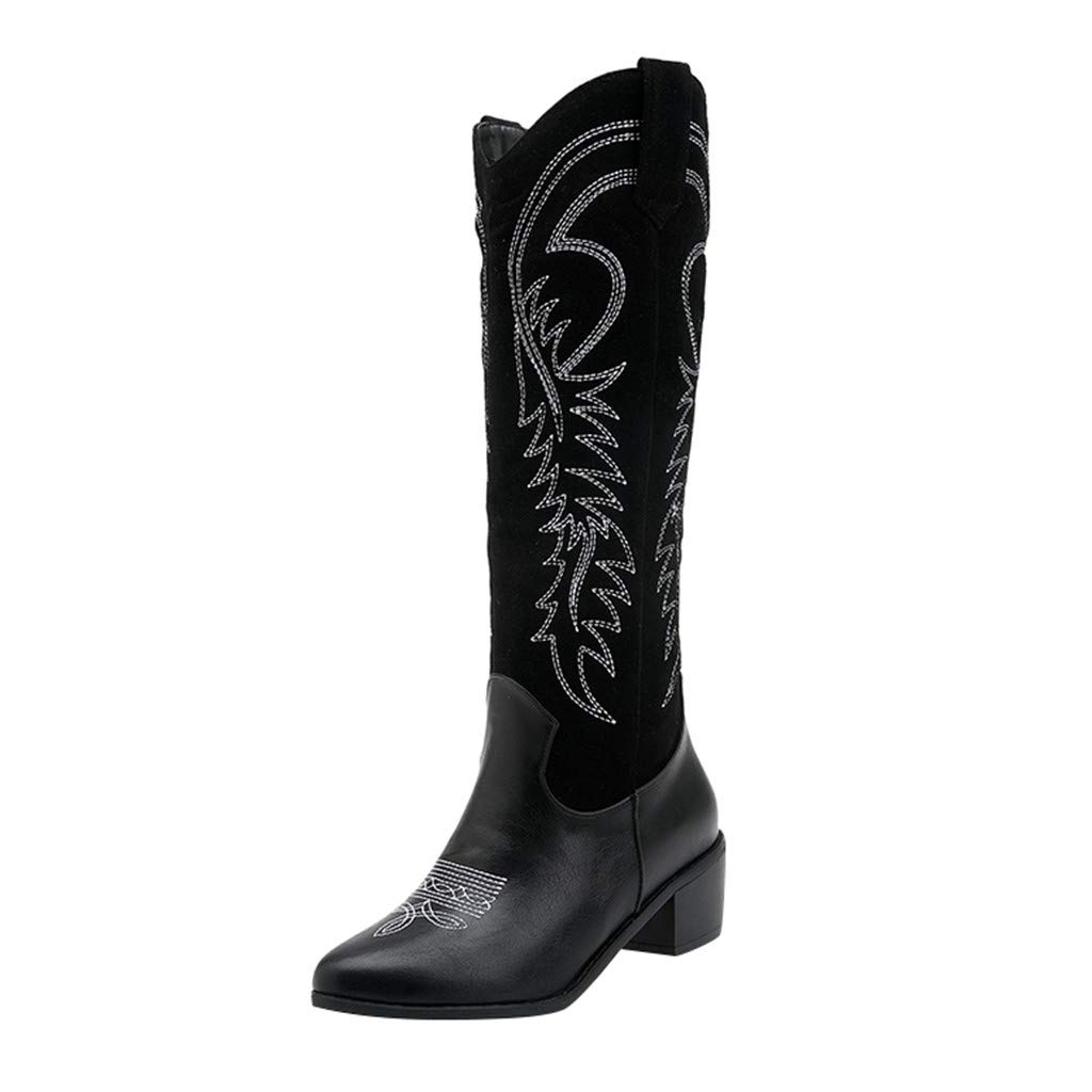 Kenvina Fashion Womens Square Mid-Heeled Slip-On Pointed Toe Embroidered Western Cowboy Boots Black by Kenvina